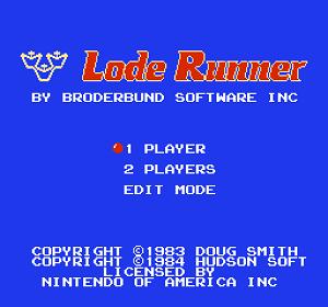 Титульный экран из игры Lode Runner / Лоуд Раннер (Золотоискатель)