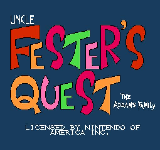 Титульный экран из игры Fester's Quest / Приключения Фестера
