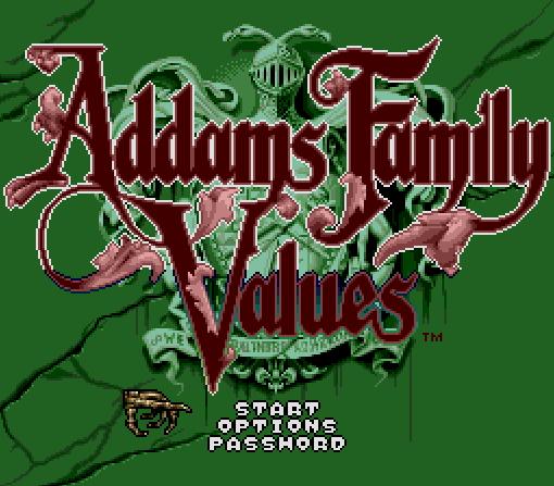 Титульный экран из игры Addams Family Values / Ценности семейки Аддамс