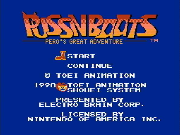 Титульный экран из игры Puss 'n Boots - Pero's Great Adventure / Кот в Сапогах - Большое Приключение Перо