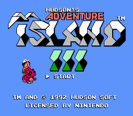 Титульный экран из игры Adventure Island 3 / Приключения на Острове 3