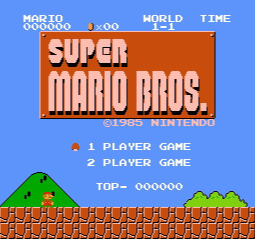 Титульный экран из игры Super Mario Bros. / Супер Братья Марио