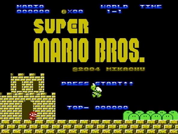 Титульный экран из игры Super Mario Bros. (Zoku Jun Mario)