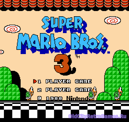 Титульный экран из игры Super Mario Bros 3 / Супер братья Марио 3