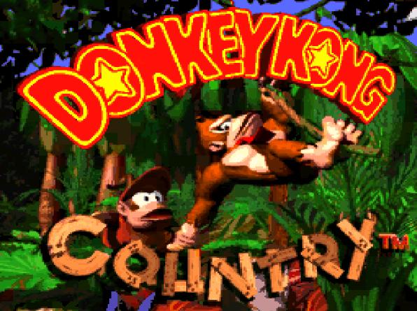 Титульный экран из игры Donkey Kong Country / Страна Донки Конга
