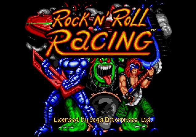 Титульный экран из игры Rock n' Roll Racing / Рок н' Рольные Гонки