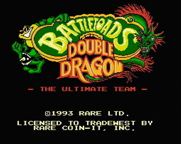 Титульный экран из игры Battletoads and Double Dragon The Ultimate Team / Боевые Жабы и Двойной Дракон - Последняя Команда