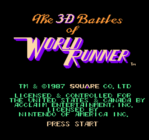 Титульный экран из игры 3-D Battles of World Runner, The / 3-D Битвы Ворлд Раннера