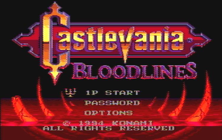 Титульный экран из игры Castlevania: Bloodlines / Кастлевания: Родословная