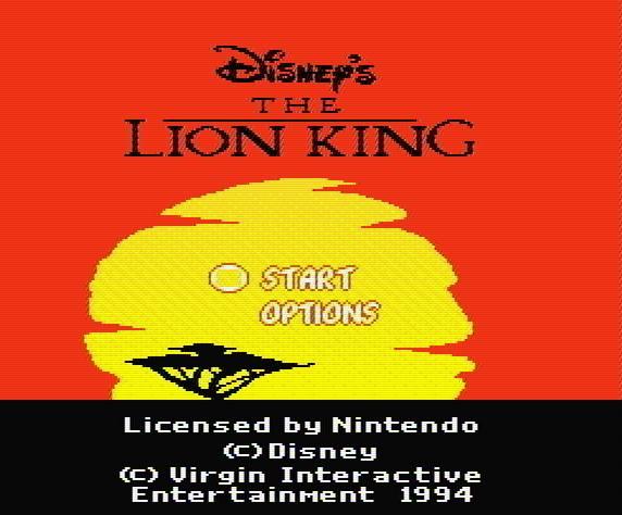 Титульный экран из игры Lion King / Король Лев