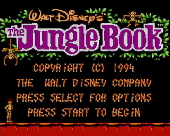 Титульный экран из игры Jungle Book / Книга Джунглей (Маугли)