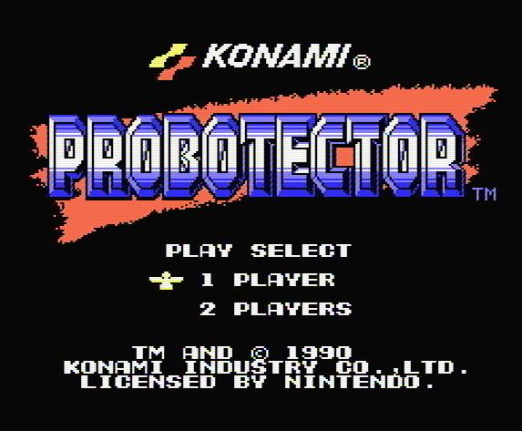 Титульный экран из игры Probotector / Проботектор