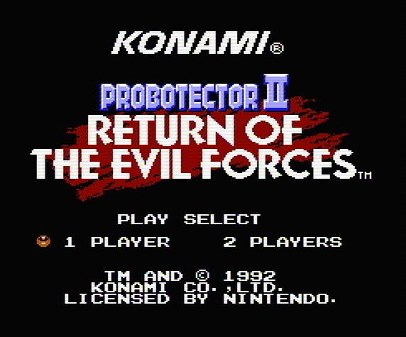 Титульный экран из игры Probotector II - Return of the Evil Forces / Проботектор 2 - Возвращение Отрядов Зла