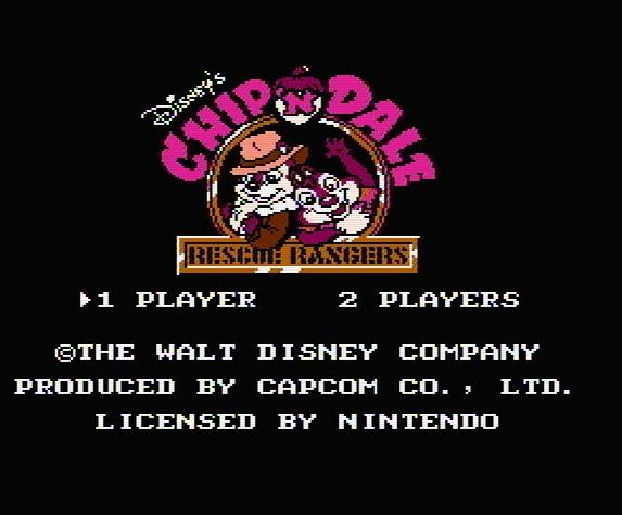 Титульный экран из игры Chip 'n Dale Rescue Rangers / Чип и Дейл Отважные Спасатели