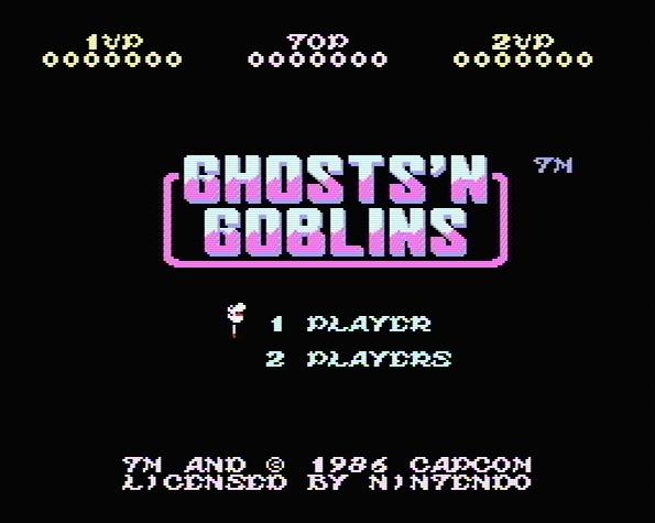 Титульный экран из игры Ghosts 'n Goblins / Призраки и Гоблины
