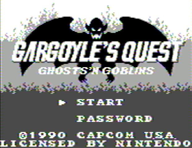 Титульный экран из игры Gargoyle's Quest / Квест Гаргульи