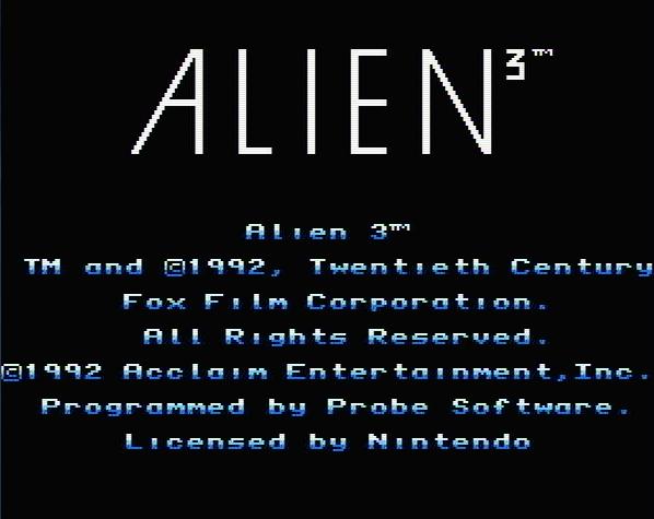 Титульный экран из игры Alien 3 / Чужие 3