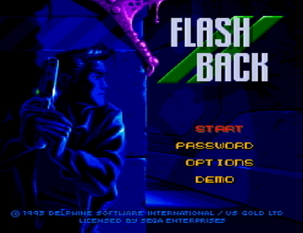 Титульный экран из игры Flashback: The Quest for Identity / Вспышка Памяти Приключение в Подсознание.