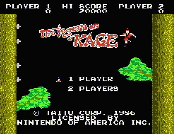 Титульный экран из игры Legend of Kage / Легенда о Тени