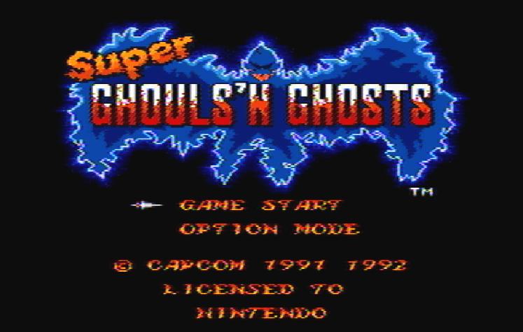 Титульный экран из игры Super Ghouls 'N Ghosts / Супер Гули и Призраки