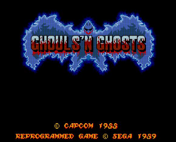 Титульный экран из игры Ghouls 'N Ghosts (Dai Makaimura) / Гули и Призраки