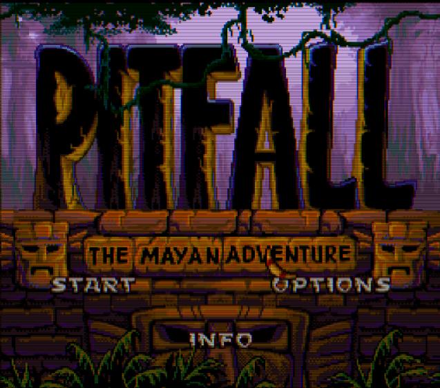 Титульный экран из игры Pitfall The Mayan Adventure / Западня - Приключение в племенах Майя