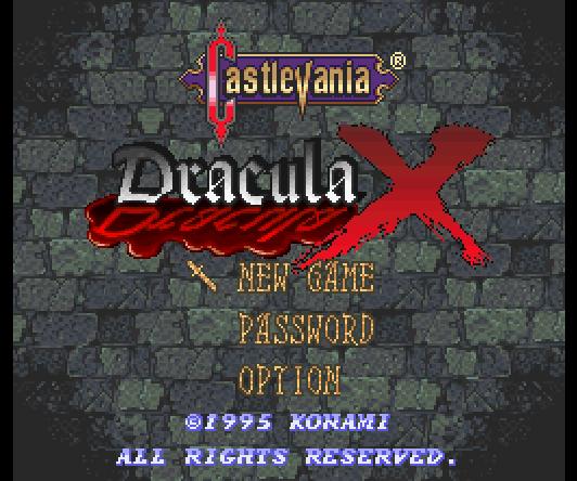 Титульный экран из игры Castlevania - Dracula X / Vampire's Kiss