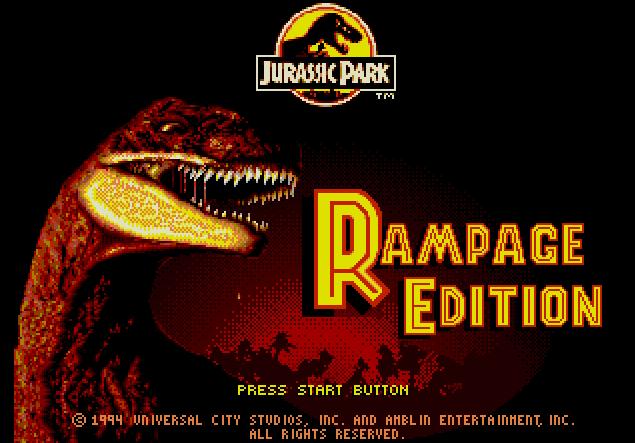 Титульный экран из игры Jurassic Park. Rampage Edition / Парк Юрского Периода. Дикое Издание