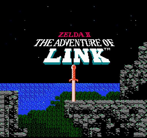 Титульный экран из игры Zelda II - The Adventure of Link / Легенда Зельды 2: Приключения Линка