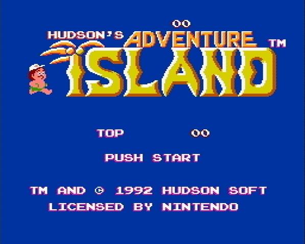 Титульный экран из игры Adventure Island / Приключения на Острове
