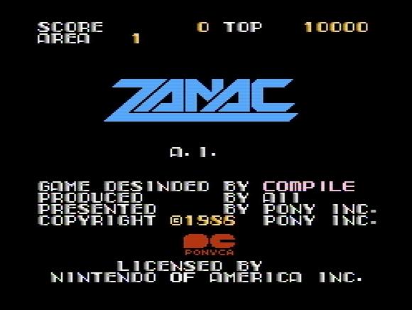 Титульный экран из игры Zanac / Занак