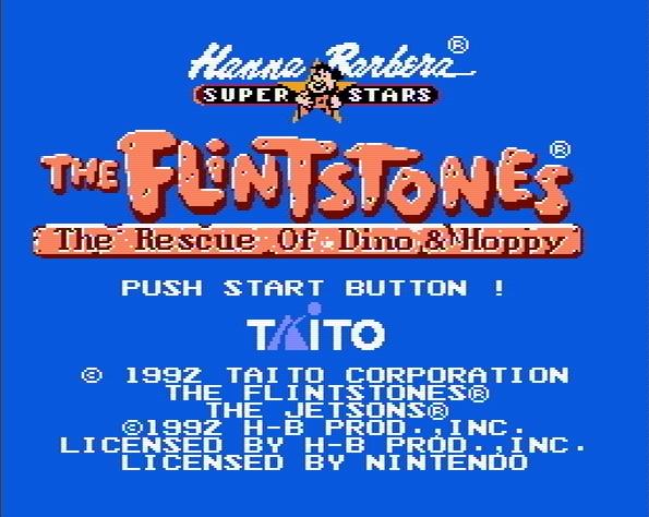 Титульный экран из игры Flintstones the: the Rescue of Dino and Hoppy / Флинтстоуны: Спасение Дино и Хоппи
