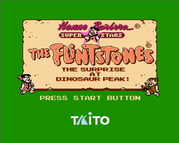 Титульный экран из игры Flintstones the: the Surprise at Dinosaur Peak! / Флинтстоуны: Сюрприз на Пике у Динозавра