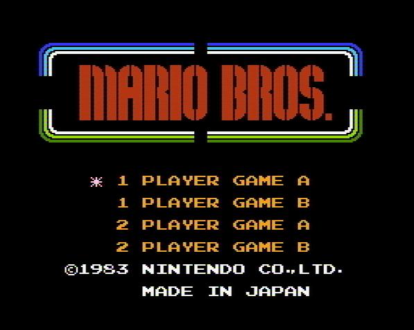 Титульный экран из игры Mario Bros / Братья Марио