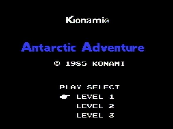 Титульный экран из игры Antarctic Adventure / Антарктическое Приключение