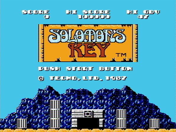 Титульный экран из игры Solomon's Key / Ключ Соломона