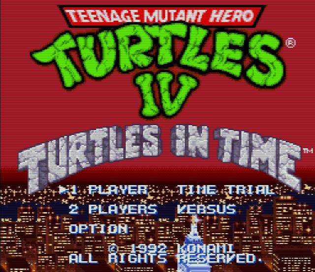 Титульный экран из игры Teenage Mutant Ninja Turtles 4 Turtles in Time / Черепашки Ниндзя 4 Черепашки во Времени