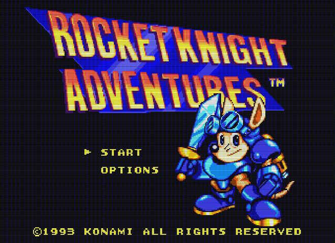 Титульный экран из игры Rocket Knight Adventures / Приключения Ракетного Рыцаря