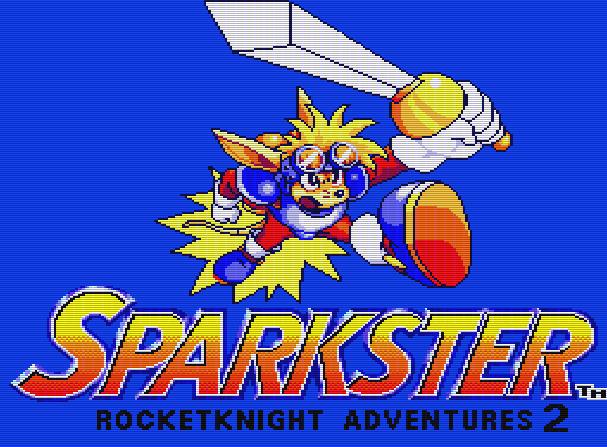 Титульный экран из игры Sparkster - Rocket Knight Adventures 2 / Спаркстер - Приключения Ракетного Рыцаря 2
