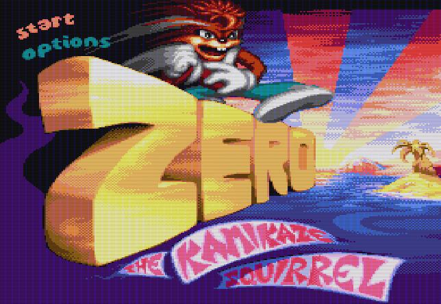 Титульный экран из игры Zero: The Kamikaze Squirrel / Зэро: Белка-Камикадзе