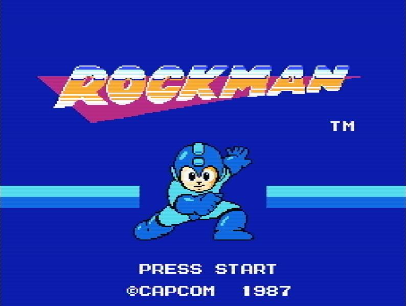 Титульный экран из игры Rockman / ロックマン