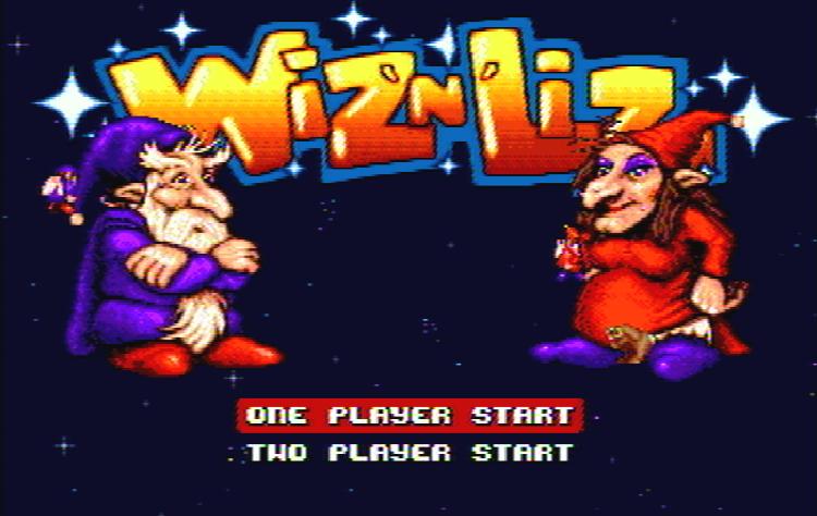 Титульный экран из игры Wiz 'n' Liz - The Frantic Wabbit Wescue / Виз и Лиз: Спасение Вроликов