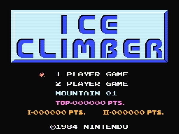 Титульный экран из игры Ice Climber / Альпинист Льдов