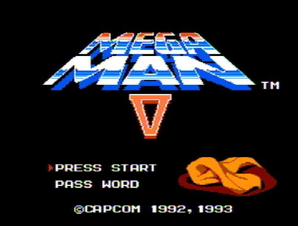 Титульный экран из игры Mega Man 5 / Мега Мен 5