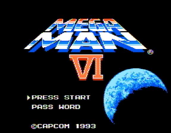 Титульный экран из игры Mega Man 6 / Мега Мен 6