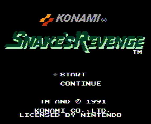 Титульный экран из игры Snake's Revenge (Metal Gear 2) / Месть Снейка