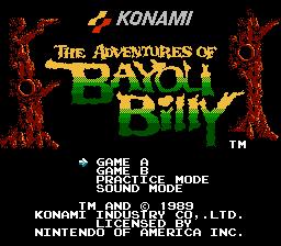 Титульный экран из игры Adventures of Bayou Billy / Приключения Баю Билли