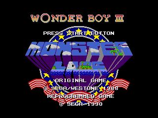 Титульный экран из игры Wonder Boy III - Monster Lair / Вондер Бой 3 Логово Монстра