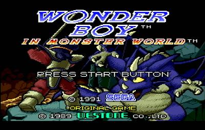 Титульный экран из игры Wonder Boy in Monster World / Вондер Бой в Мире Монстра