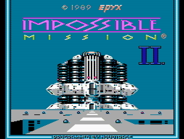 Титульный экран из игры Impossible Mission II / Невыполнимое Задание 2